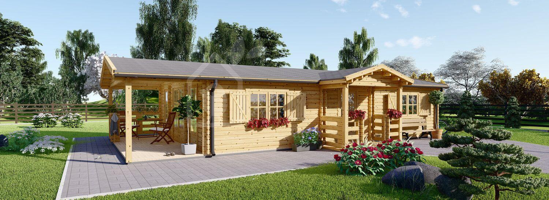 Casa in legno abitabile con porticato DONNA (Coibentata, 44+44 mm), 63 m² + 11.5 m² visualization 1