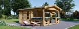Casetta da giardino ISLA (66 mm) 18 mq + 7 mq di porticato visualization 3