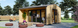 Casetta in legno TINA 5.5x5 m 22 mq + 5.5 mq di porticato visualization 3