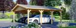 Tettoia auto in legno doppia CLASSIC 6x6 m visualization 5