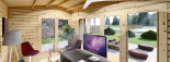 Casetta in legno TINA 5.5x5 m 22 mq + 5.5 mq di porticato visualization 9