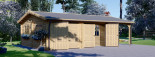 Garage in legno doppio (44 mm) 6x6 m + tettoia auto in legno 3x6 m visualization 4