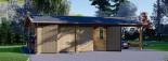 Garage in legno doppio (44 mm) 6x6 m + tettoia auto in legno 3x6 m visualization 3