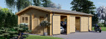 Garage in legno triplo (44 mm) 9x6 m  visualization 1