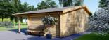 Casetta in legno CLARA con tettoia integrata (44 mm) 7x4 m 28 mq visualization 3