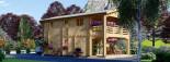 Casa in legno TOULOUSE (66 mm) 100 mq + 20 mq di porticato visualization 4